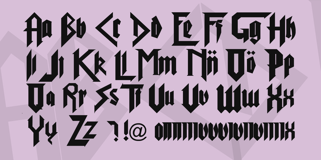 calligraphy metal font