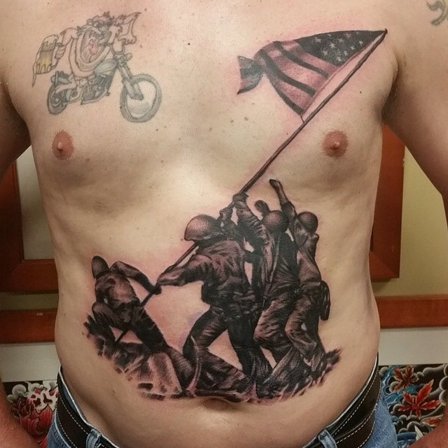 stomach marine corps tattoo designs