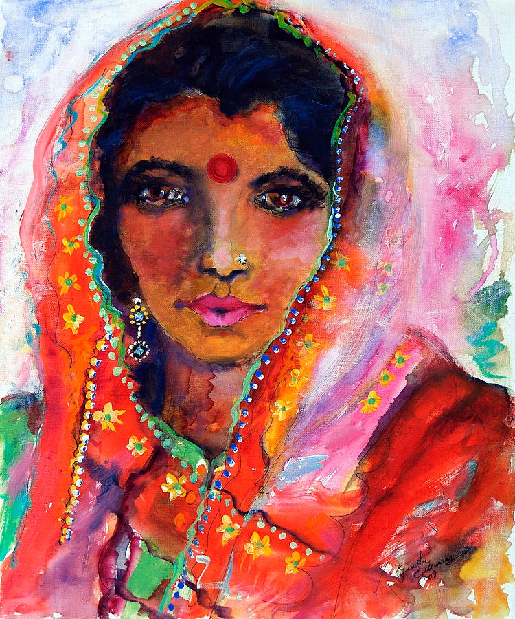 women with red bindi painting indian painting