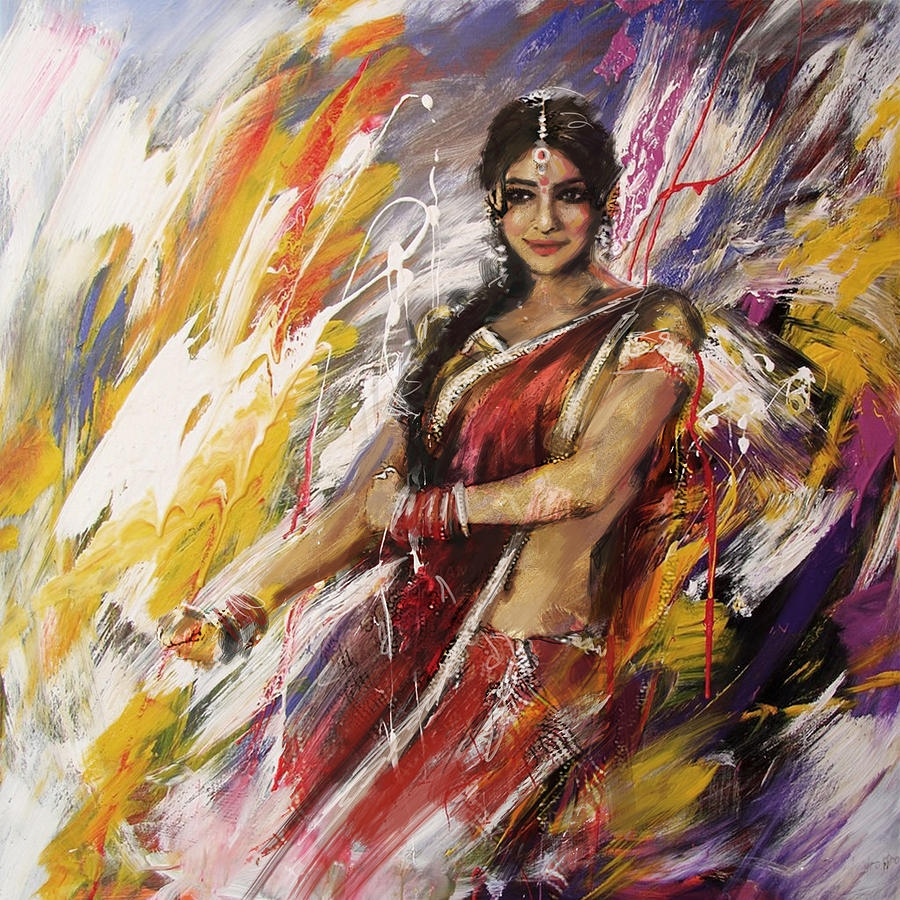 indian classical woman oil painting