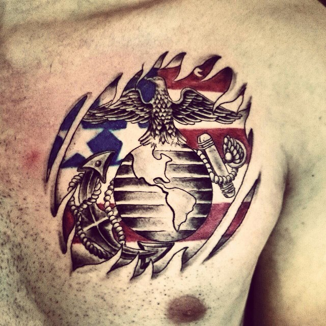 chest marine corps tattoo