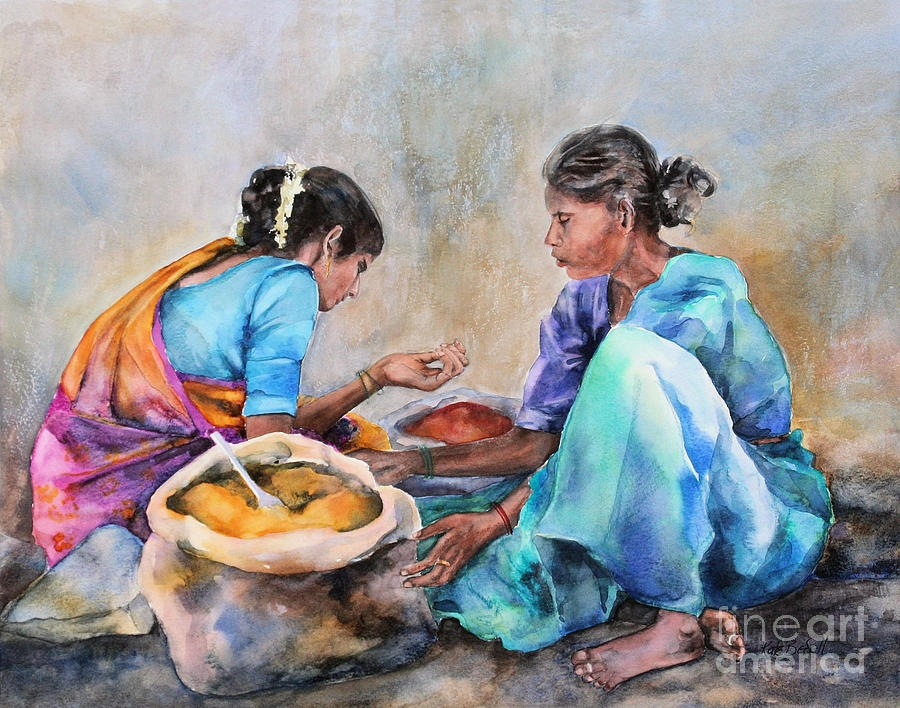spice sellers indian womens painting