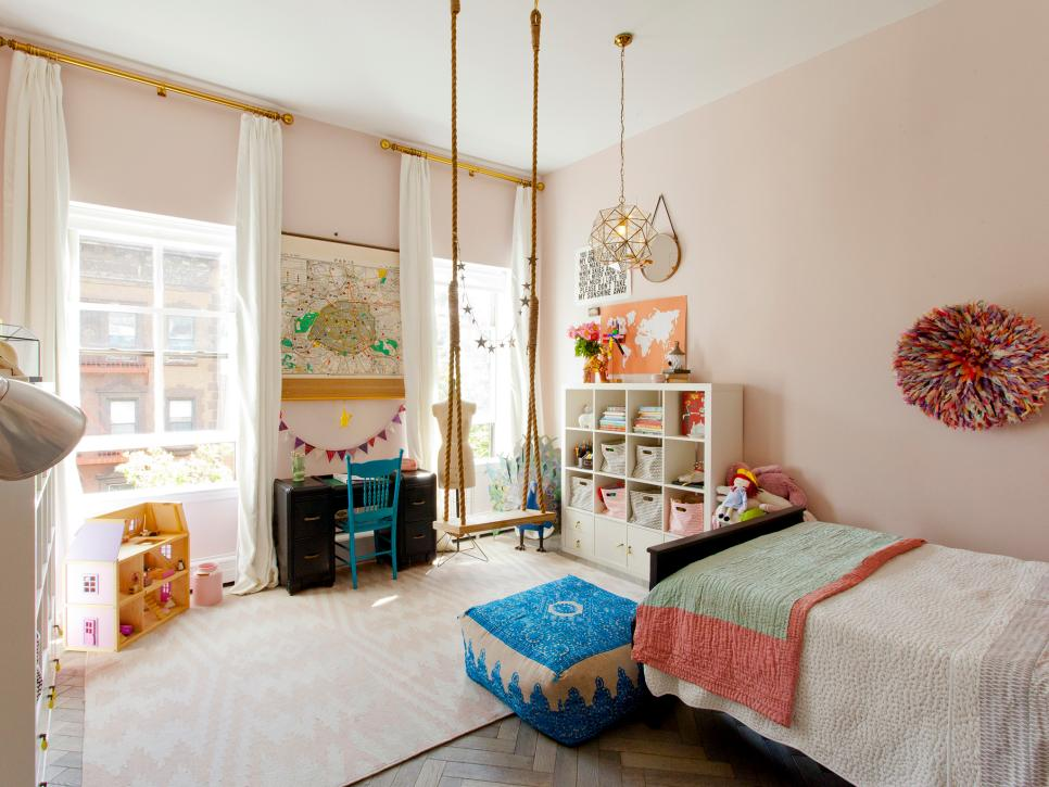 Bright Pale Pink Girl's Bedroom with Rope Swing