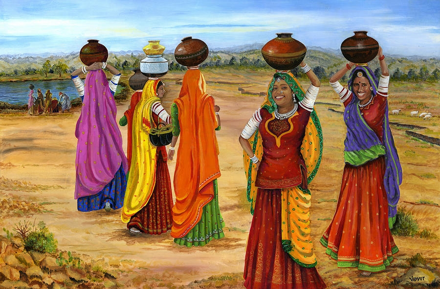 rajasthani woman painting by vidyut singhal