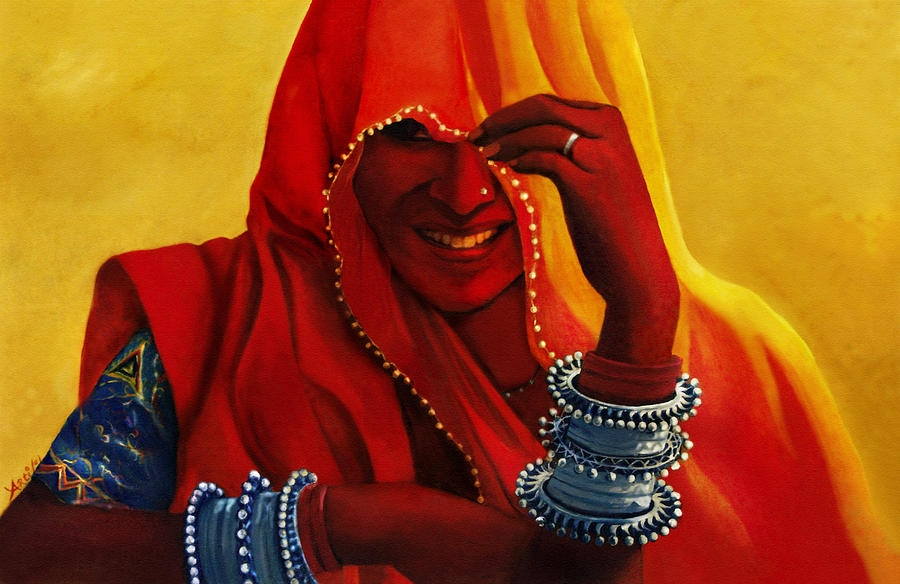 traditional rajasthani woman painting