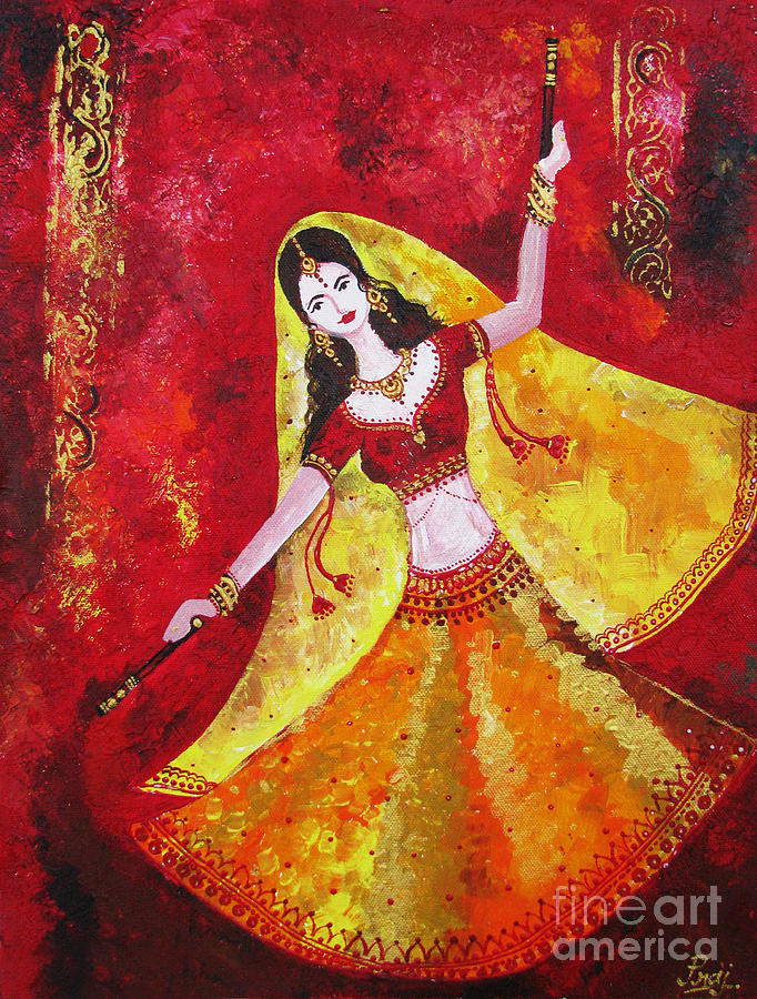 dancing traditional woman painting