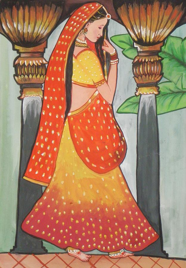 painting of indian beautiful woman