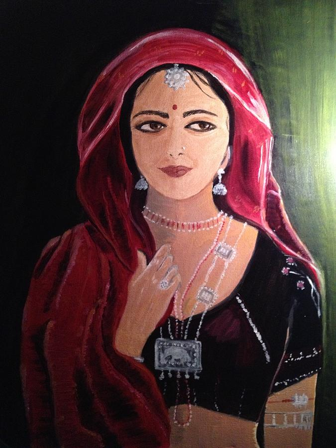 mystic indian woman traditional painting