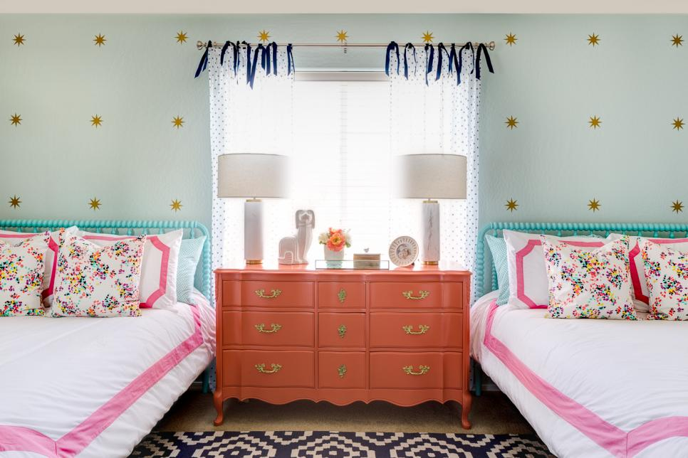 Girls Bedroom with Coral Dresser Design