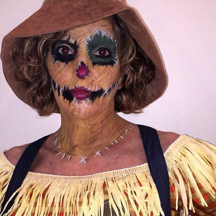 old woman scarecrow makeup