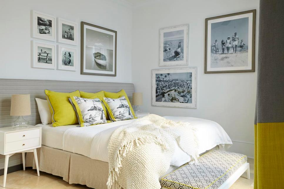 retro paintings with white bedroom design