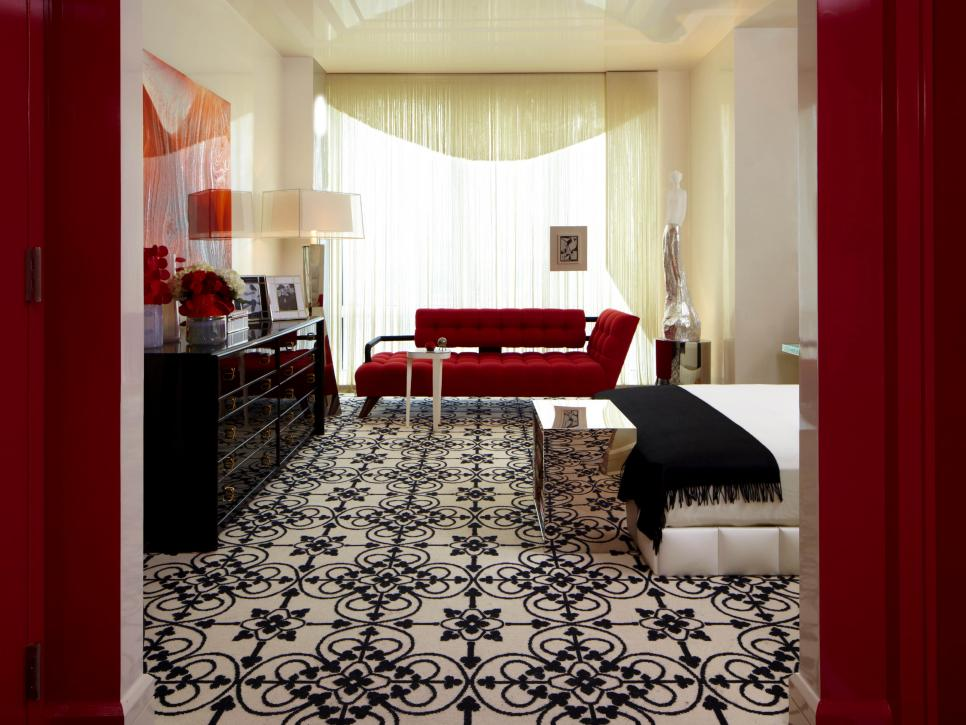 contemporary bedroom with black carpet design