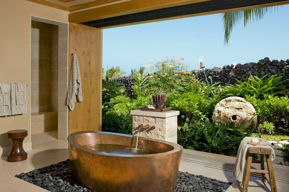 Tropical Bathroom With A Freestanding Tub