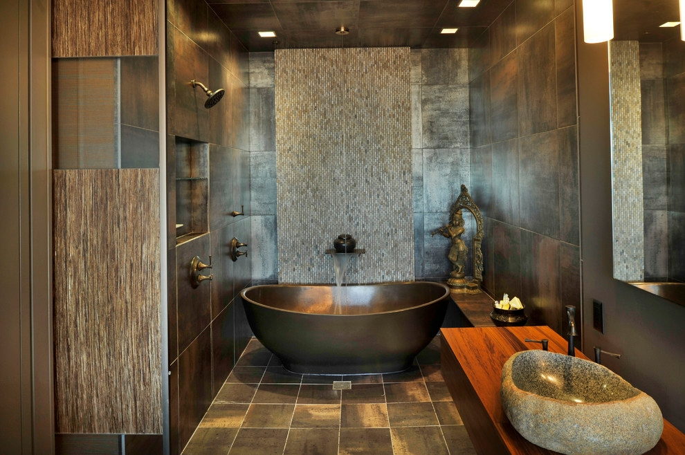 Asian Bathroom Tub Design Looks Unique