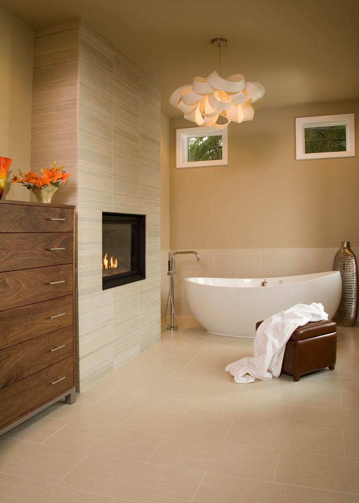 Contemporary Bathroom With A Freestanding Tub