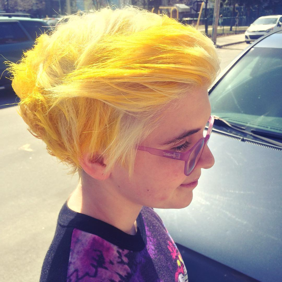 Yellow Shaded Pixie Bob Cut