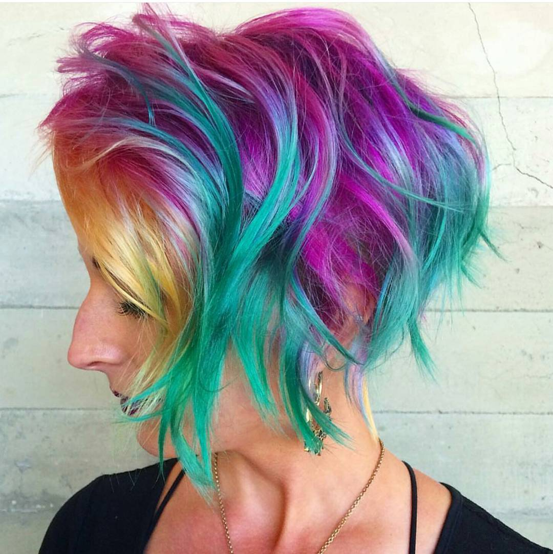 Colorful Bob Pixie Hairstyle