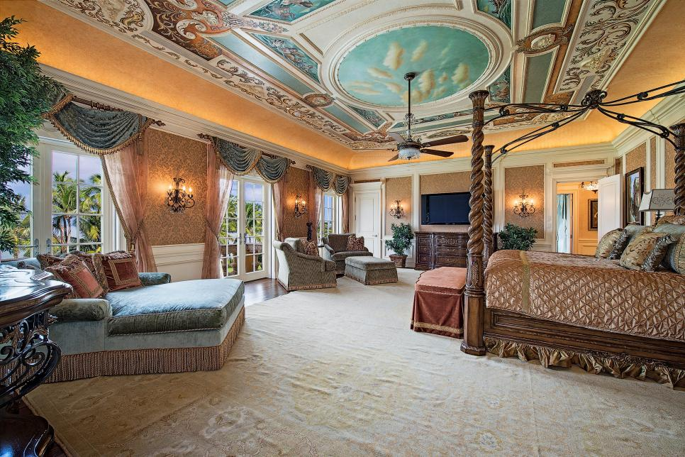 fabulous master bedroom with hand painted ceiling art