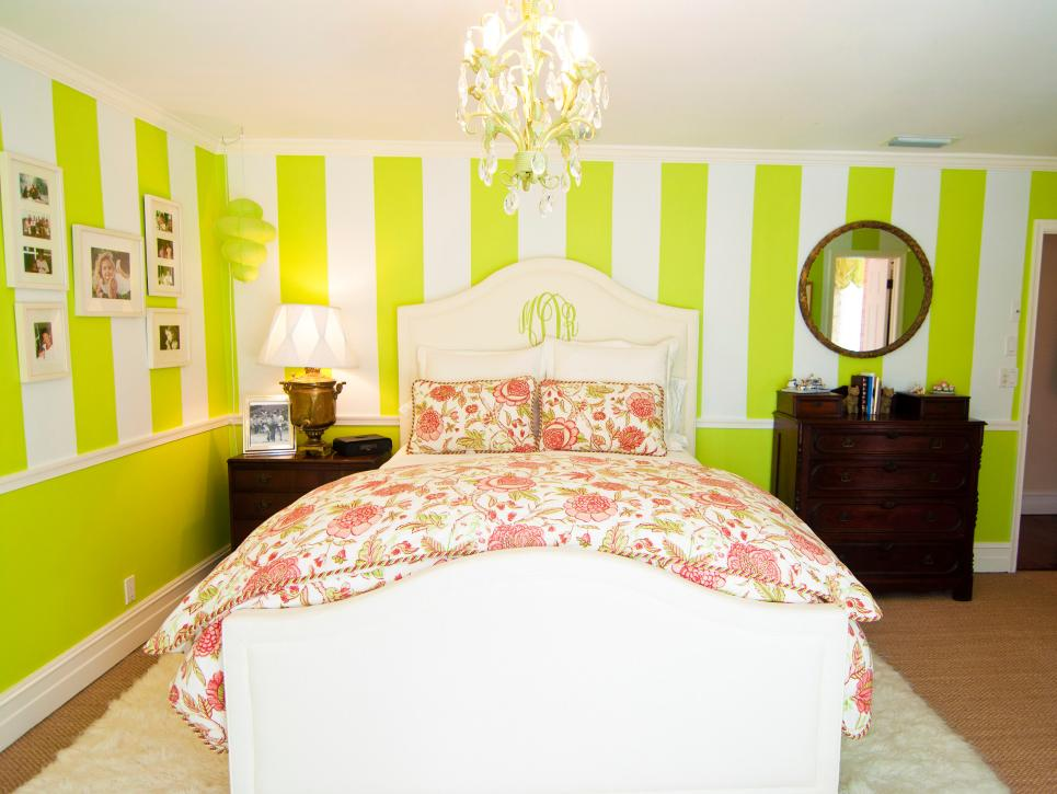 lime green and white striped master bedroom wall paint