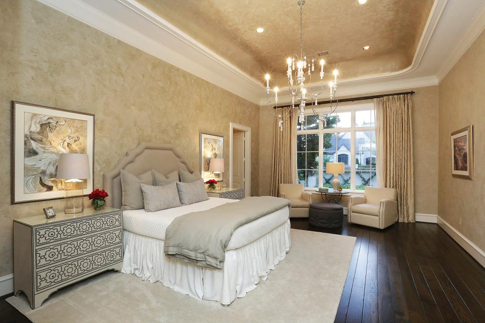 bedroom with double tray paint ceiling