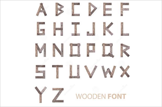 wooden alphabet font