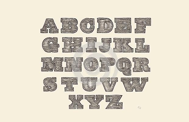 vintage wood font