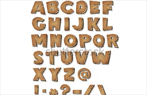 wood alphabet font