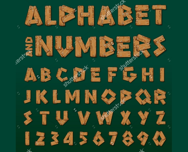 Wood Alphabet and Numbers Font