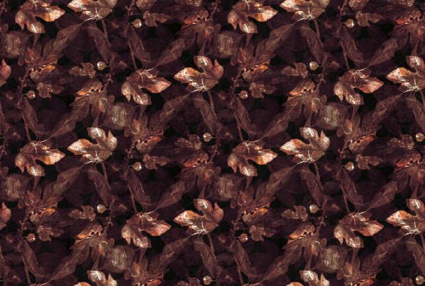 dark brown color leaves seamless pattern