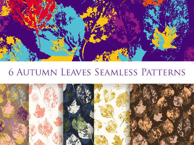 6 Vector Colorful Leaves Seamless Pattern