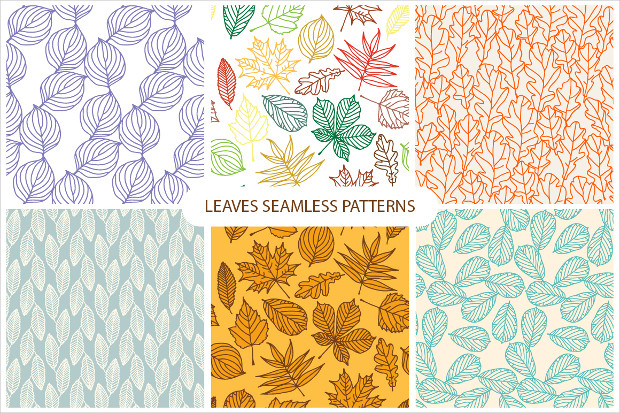6 Set of Leaves Seamless Patterns