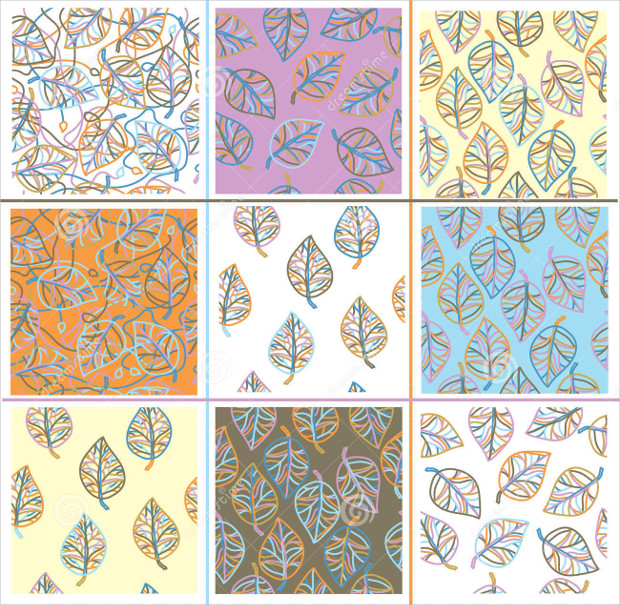 Vector Set Leaves Seamless Pattern