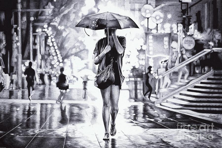 Girl Under the Umbrella Ball Pen Drawing