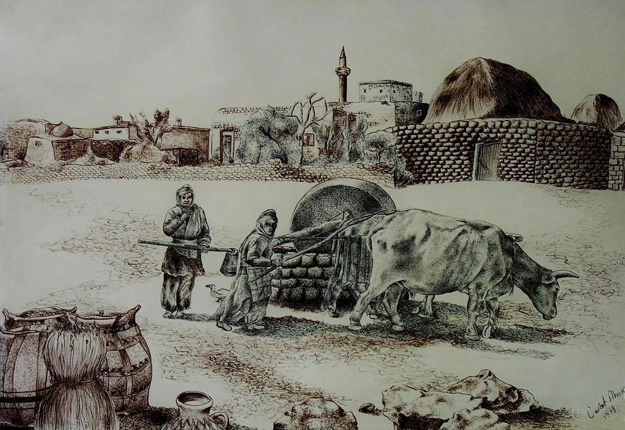 Beautiful Anatolian Village Pen Drawing
