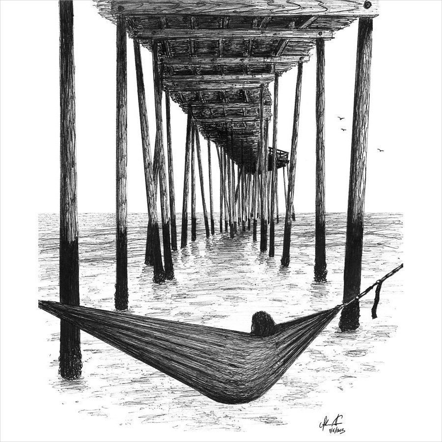 Hammock Under The Pier Ink Drawing