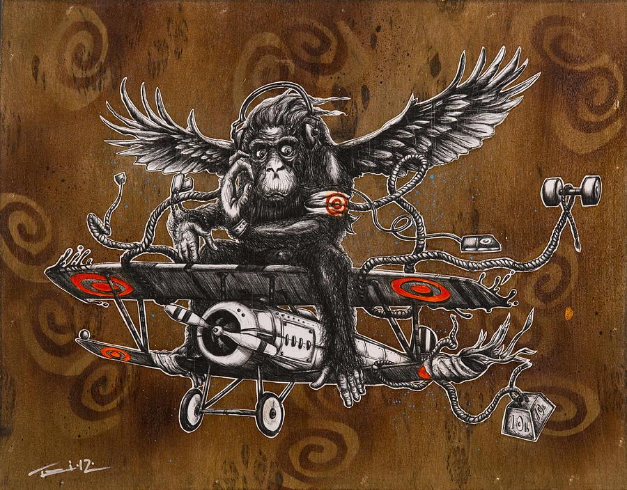 Chimpanzee, Monkey and Airplane Ball Pen Drawing
