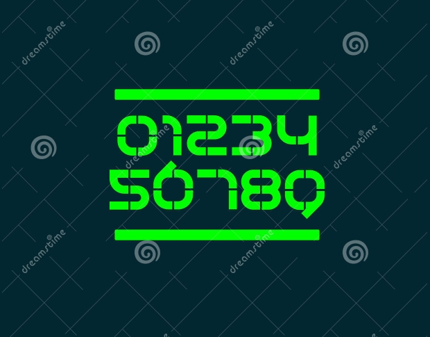 futuristic number font