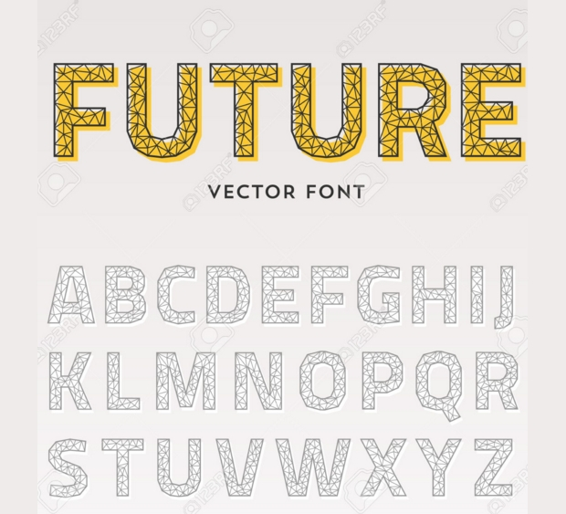 triangular futuristic font