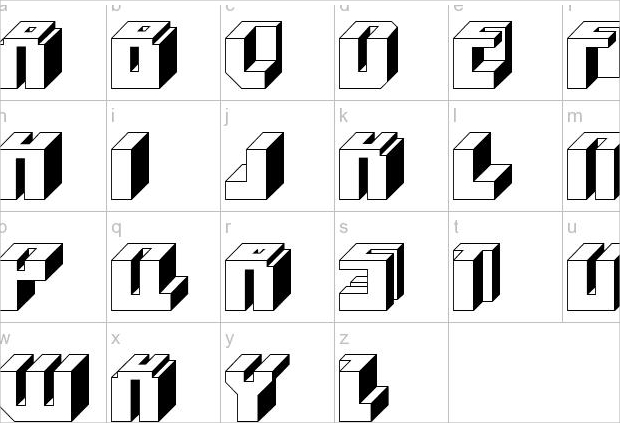 outline block square font