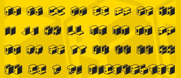 3d square font