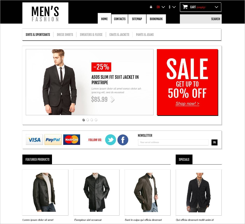 Men's Fashion Boutique Responsive Theme