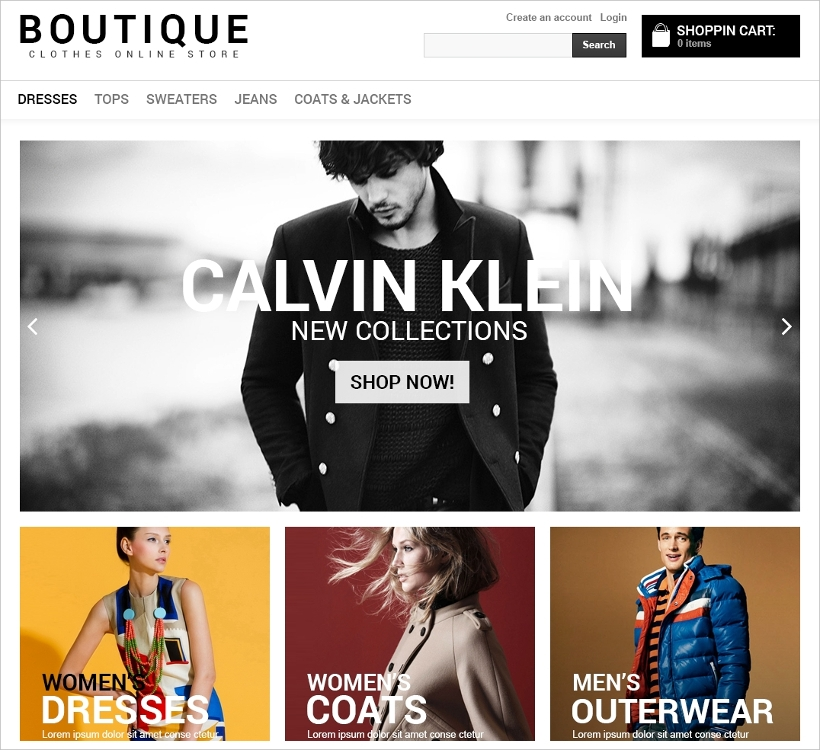 VirtueMart Online Boutique Template