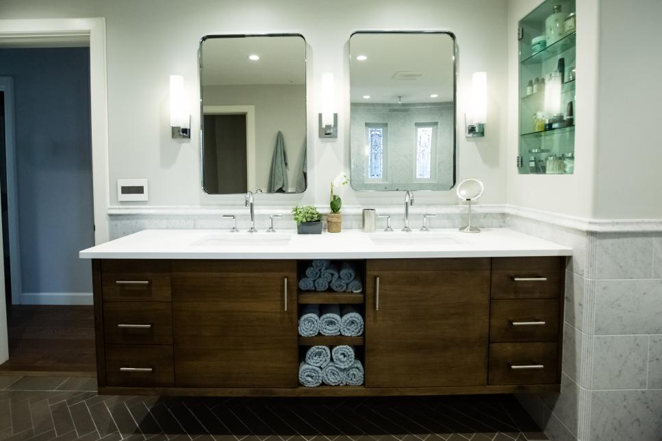 long contemporary floating vanity with double sinks and storage shelves