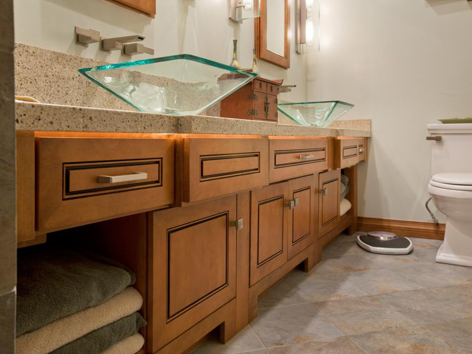 Double Glass Sink Bathroom Vanity