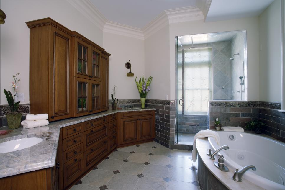 master bath features his her vanities