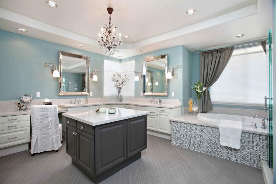 Spacious Master Bathroom Features Storage Island