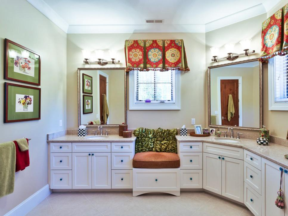 White Traditional Bathroom With Extra Storage