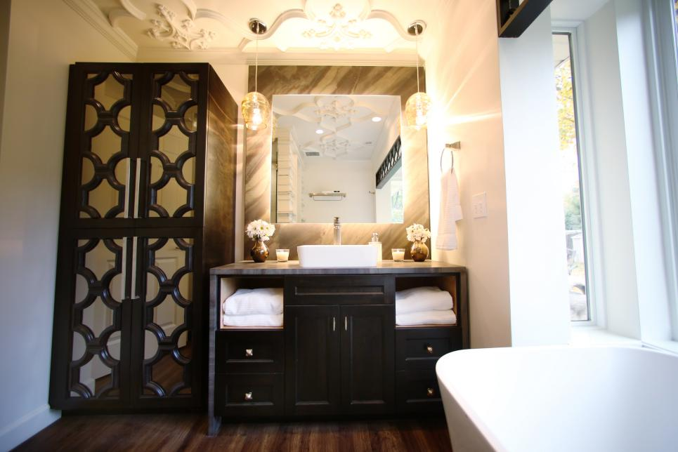 Sophisticated Bathroom With Mirrored Storage Cabinet
