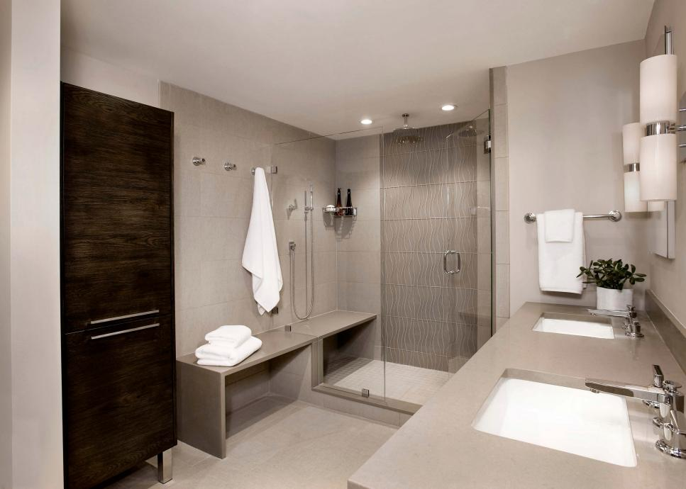 Neutral Contemporary Bathroom With Oak Storage Cabinet