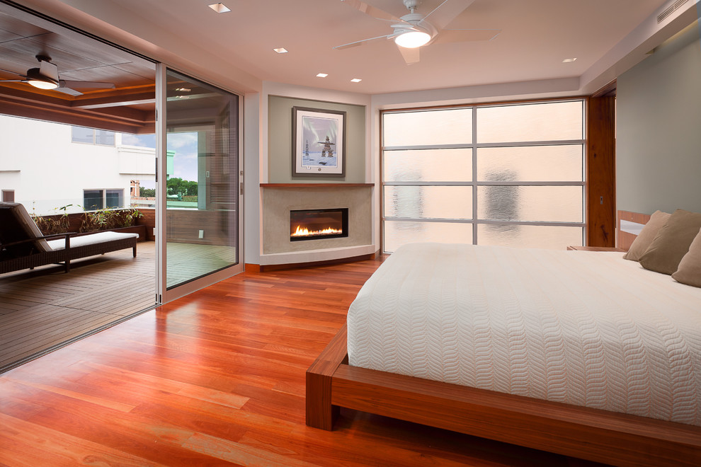 master bedroom with pocketing fleetwood doors